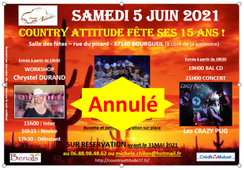 Evènement country Attitude 5 juin 2021 annulé